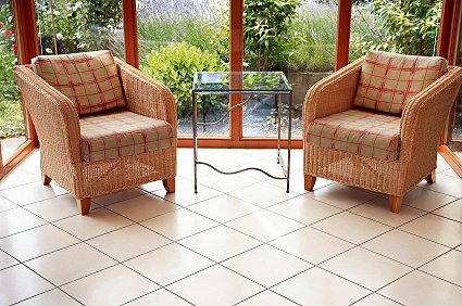 Conservatory chairs in wicker.
