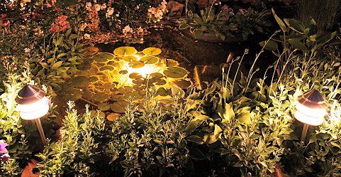 Garden lighting can have the effect of extending the living space in the conservatory.