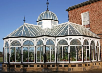 The Victorian conservatory is made with modern materials, and designed to reflect the architecture of the period.